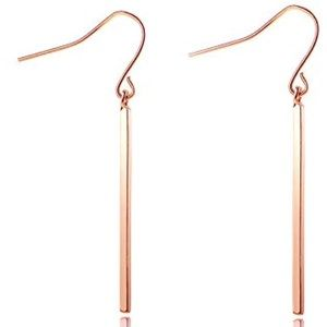 Anthropologie Rose Gold Bar Earrings